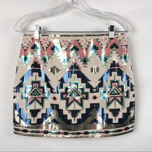 Express Aztec Print Sequin Mini Skirt Size Small